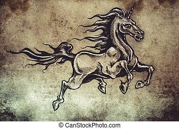 tatouage, Cheval, croquis, sur, fait main, Ailes, licorne,...