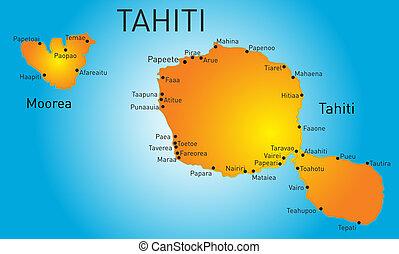 Tahiti - Vector color map of Tahiti