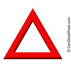 advertencia, triángulo, camino, señal