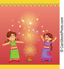Kids enjoying firecracker celebrating Diwali - kids enjoying...