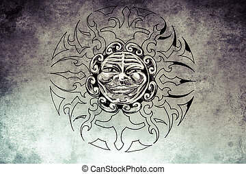 tattoo sun face illustration, handmade draw over vintage...