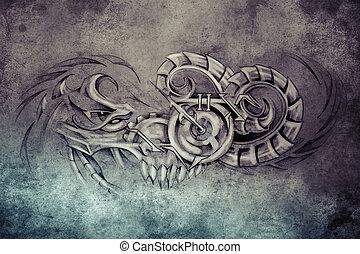 tatuaje, Diablo, reloj, Ilustración, hechaa mano,...
