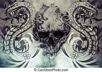 cráneo, Serpientes, tatuaje, diseño, encima,...