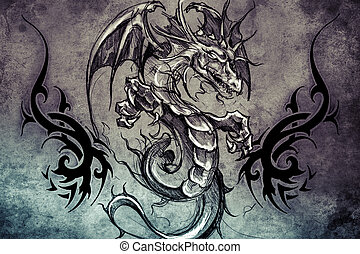 Medieval dragon Tattoo design over grey background textured...