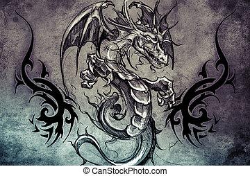 medieval, dragão, tatuagem, desenho, sobre, cinzento,...