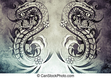 snakes Tattoo design over grey background textured backdrop...