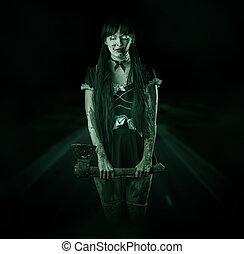 Scary woman ghost on night road - Halloween horror. Scary...