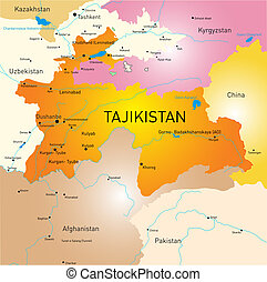 Tajikistan - Vector color map of Tajikistan