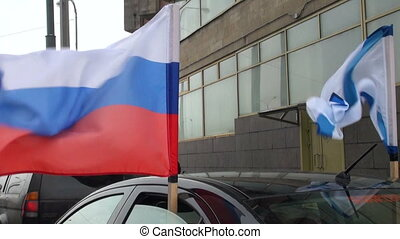 Russian and marine flags
