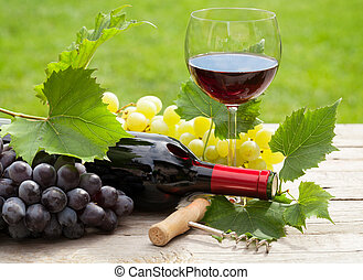 Red wine glass and bottle with bunch of grapes in sunny...