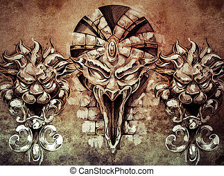 Tattoo art, fantasy medieval gargoyle over antique wall