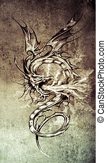 Sketch of tattoo art, stylish dragon illustration on vintage...