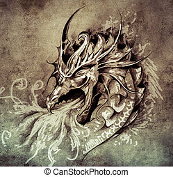 Sketch of tattoo art, anger dragon with white fire on vintage pa