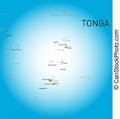 Tonga map - Vector color map of Tonga