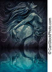 Nude mermaid illustration in blue colors with shine effects over