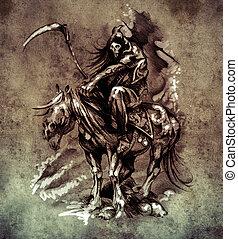 Esboço, tatuagem, arte, medieval, guerreira, cavalo,...
