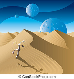 Dunes - Desert landscape on a distant planet