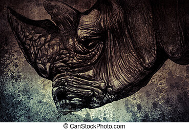 Sketch made with digital tablet of rhino head on vintage...