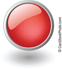 röd, glänsande, boll, knapp, underteckna