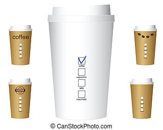 Set of paper coffee cups, vector, eps10