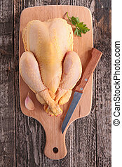 chicken on board with knife