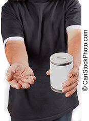 Homeless donation - Homeless man with dirty hands holds a...