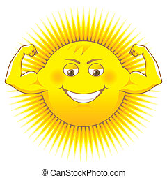 Solar power - Cartooned sun as a source of power