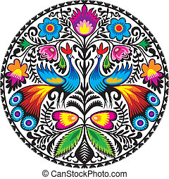 Peacocks - Illustration of Polish traditional papercut from...