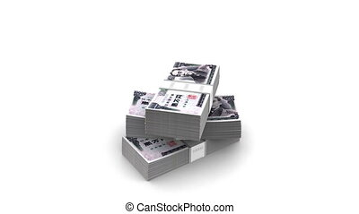 Falling Yen Bills Packs - Yen bills packs on stack anding on...