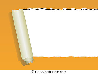 orange ripped wall paper on white background -vector