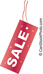 Red sales tag with red ribbon
