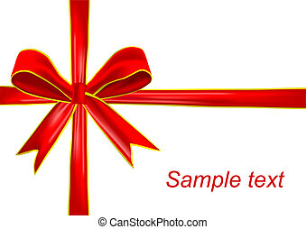 Red holiday ribbon and bow on white background