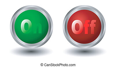 power button icons, red and green-