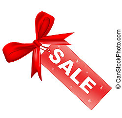 Red sale tag with ribbon