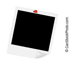 Blank photos with red push pin. Vector