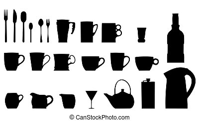 Vector collection dishware