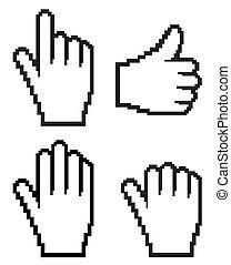 Set of hand cursor. Vector