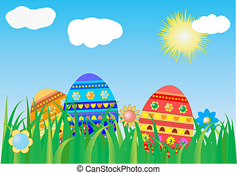 Easter background with colorful egg