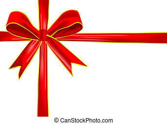 red bow ribbon isolated on white ba - red and golden bow...
