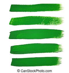Green ink vector brush strokes