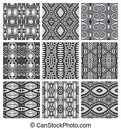 set of grey different seamless vintage geometric pattern,...