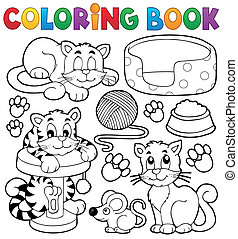 Coloring book cat theme collection - eps10 vector...
