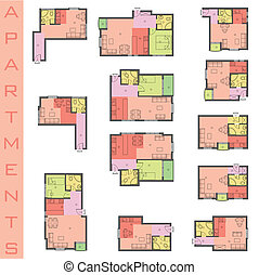 Residential Forms the floor plans, vector