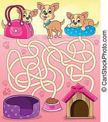 Maze 13 with dogs - eps10 vector illustration.