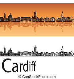 Cardiff skyline in orange background in editable vector file