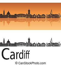 Cardiff skyline in orange background in editable vector file