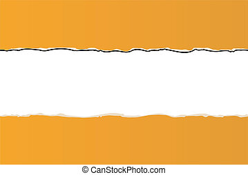 orange ripped wallpaper on white background -vector