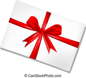 card with red ribbon - red bow ribbon isolated on white...