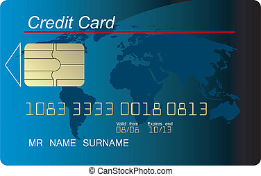 Blue credit card vector, highly detailed