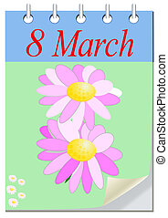 March 8 Vector Greeting Card with flower composition as 8...